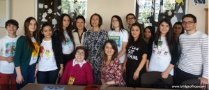 "Bridge of Hope president Susanna Tadevosyan and children of project ""Speaking of Myself"" with Open Society Foundations' (OSF)"" Education Support Program senior program coordinator Olena Sidorenko"