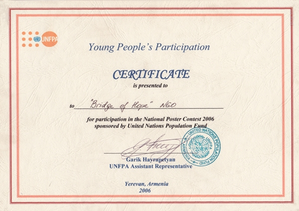 UNFPA Young People's Participation Certificate