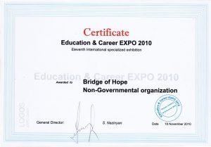 Certificate of Education & Career EXPO 2010 awarded to NGO Bridge of Hope