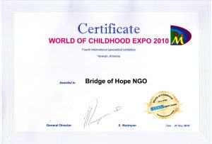 Certificate|World of Childhood Expo 2010 awarded to NGO Bridge of Hope