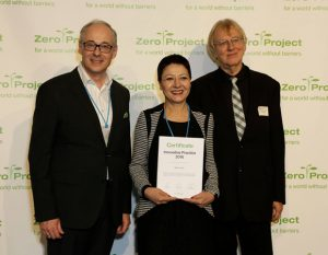 President of Bridge of Hope NGO while geting the Zero Project Prize
