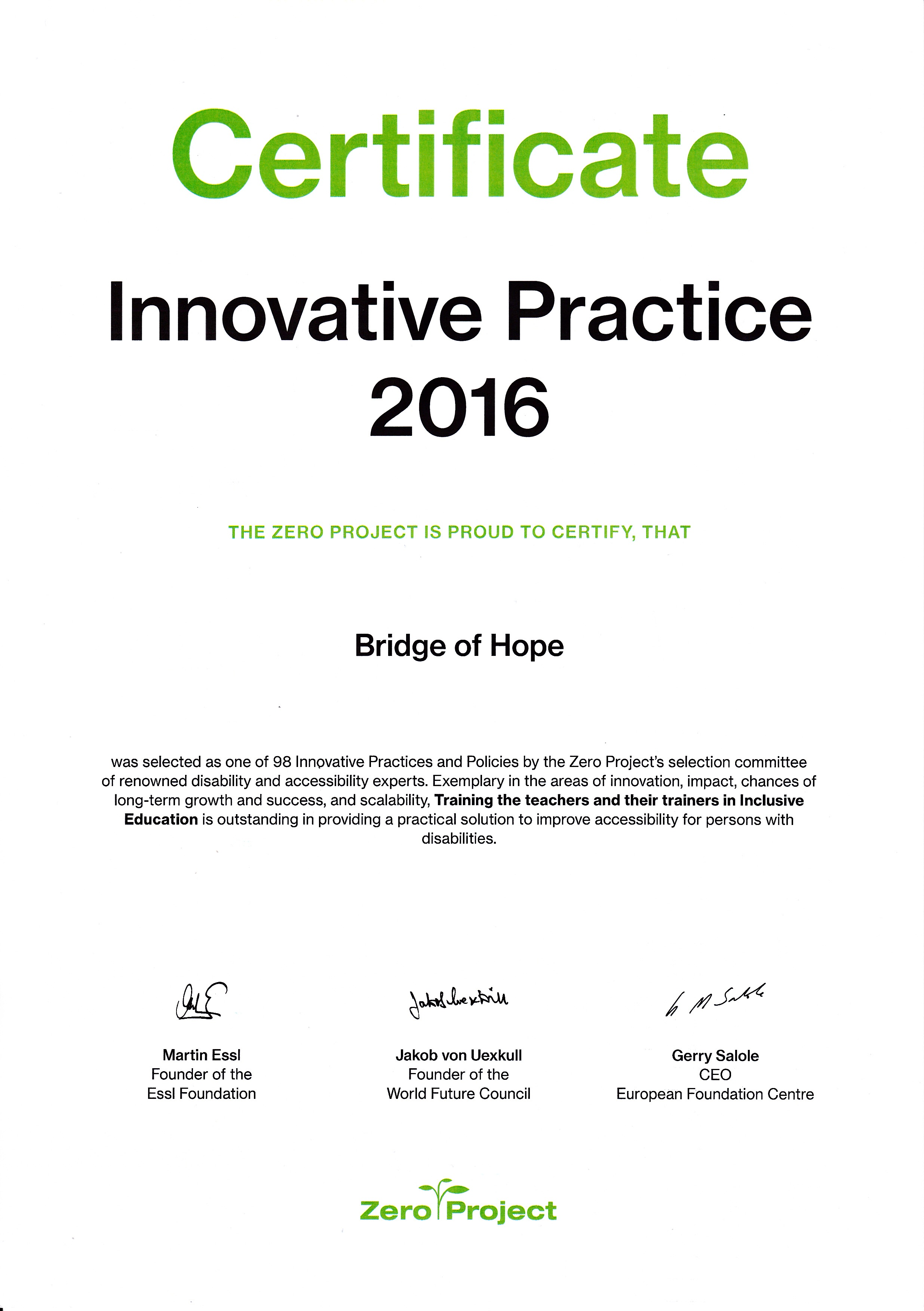 Zero Project Prize | Innovative Practice 2016