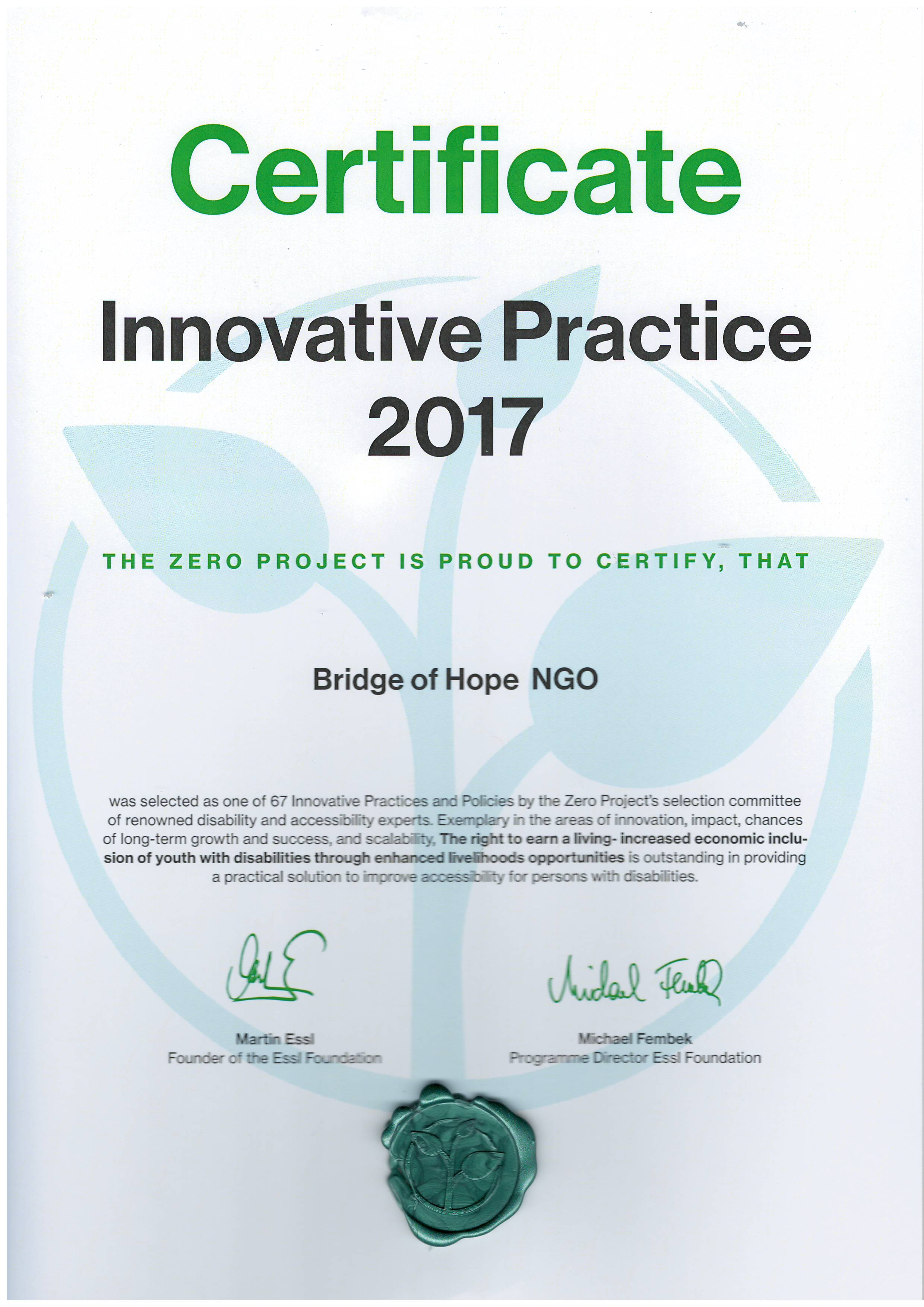 Zero Project Prize | Innovative Practice 2017